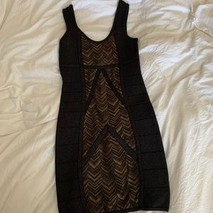 BEBE Black and Gold Dress